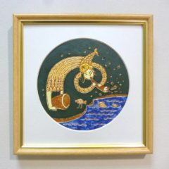 Е. Мельник «Рыбалка», керамика/ангоб/глазури, в оф.20х20
