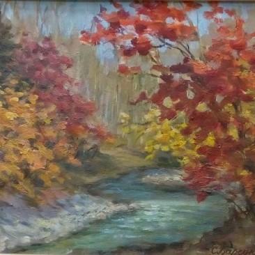 Барсуков С.А. Осенний таежный ручей х.м.42х52см