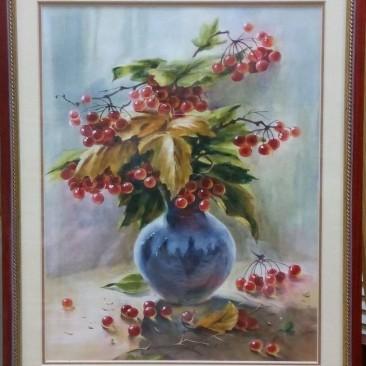 Иванова Н.А. Красные ягоды бум.акв.38х31см