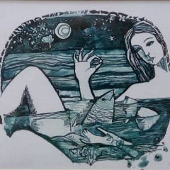 """Коваль-Коряковская. М. """"Девушка с жемчужиной"""", б.акв 23х31см"""