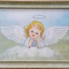 "Логинова, ""Задумчивый ангелок"", батик 21х29см"
