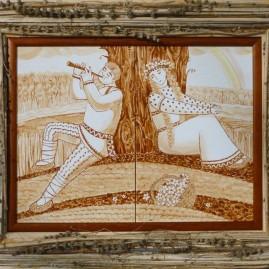 Мельник Е. А. Диптих Мелодия лета. 44 х 54 см. керамика, надглазурная роспись
