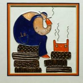 Мельник Е.А. Триптих. Шедевр в механике (фрагмент). размер каждой части 10 х 10 см. медь, горячие перегородчатые эмали