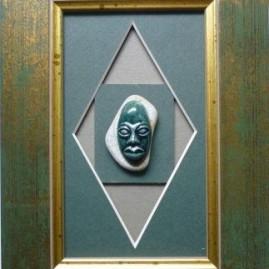 Мельник Е.А. Зелёная маска. 10х20 см. керамика, глазури.