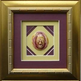 Мельник Е.А. бордовая маска. 15х15 см. керамика, глазури.