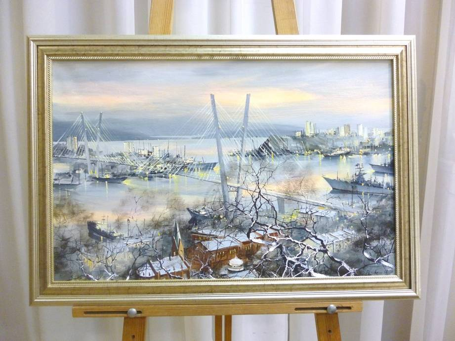 Редозубов Ю.Ю. «Апрельский снег», х/м, 38,5х60