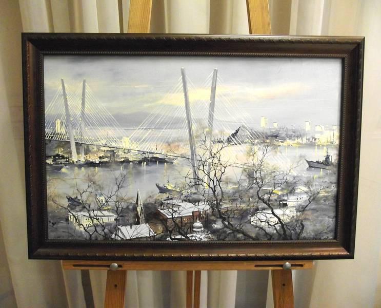 Редозубов Ю.Ю. «Туман на Русском острове», х/м, 35х60