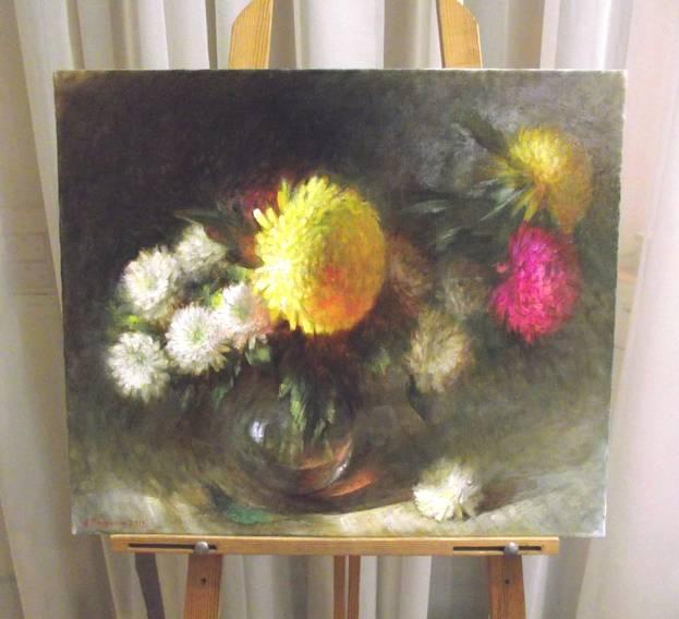 А.Панфилов «Натюрморт с розовой хризантемой», х/м, 50х60