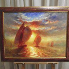 А.Панфилов  «Яхты в лучах солнца», х/м, 50х70