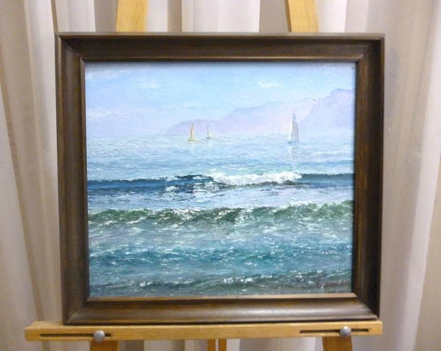 Чугунов А.И. «Море. Яхты», холст на карт/м, 35х40