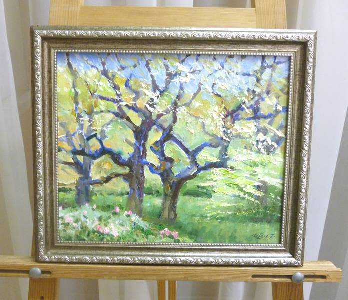 Убираев В.Г. «Старые яблони. Весна», х/м, 20х30