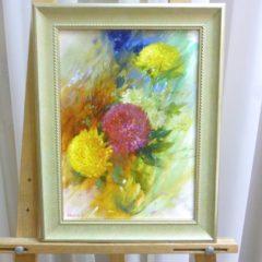 А. Панфилов «Букет с розовой хризантемой», х/м, 35х25
