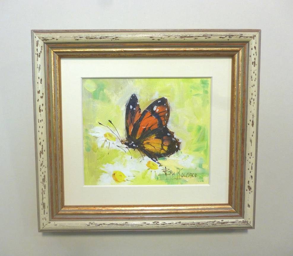 Косенко В.В. «Бабочка на ромашке», карт/м, в оф. 17х15