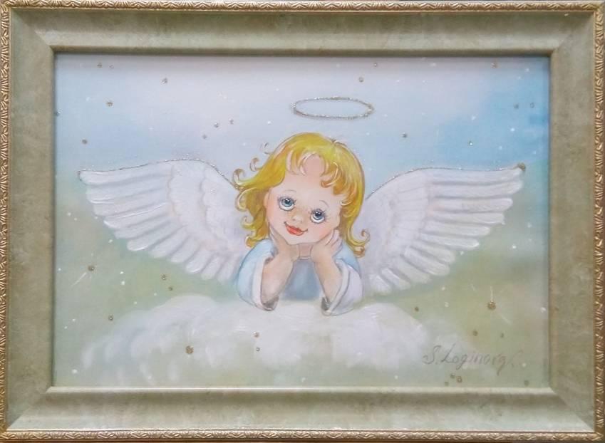 Логинова Задумчивый ангелок баттик 21х29см