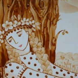 Мельник Е. А. Диптих Мелодия лета (фрагмент). 44 х 54 см. керамика, надглазурная роспись.
