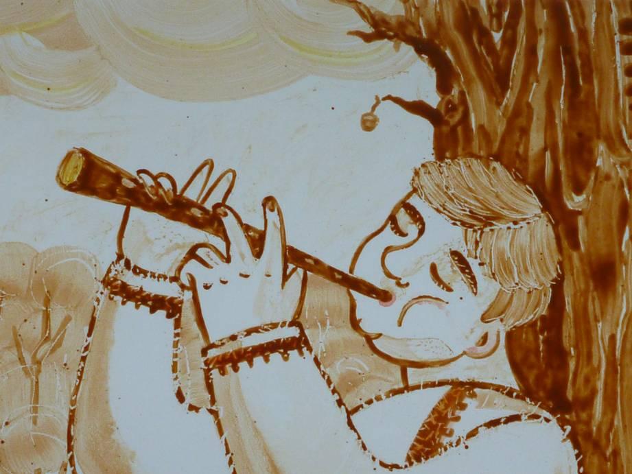 Мельник Е.А. Диптих Мелодия лета (фрагмент). 44 х 54 см. керамика, надглазурная роспись.